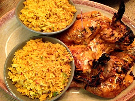 Roasted chicken and rice meal for dinner