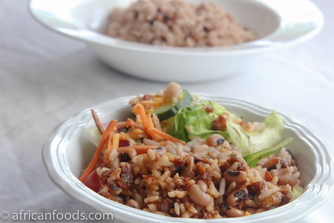 Rice and beans dish from Ghana, West Africa