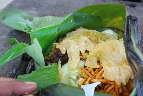 African Food Steamed in a Banana Leaf