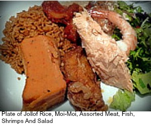 805 Restaurant London: Jollof Rice And Moi Moi dish. Yummy!